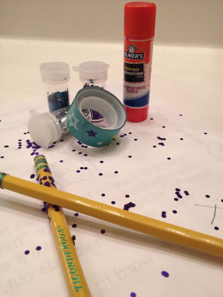 Glitter Pencil          Stuff you will need are....      Glue  Pencils Glitter any kind Duke tape just to make it more pretty but the glitter will be fine if you like please like✏️