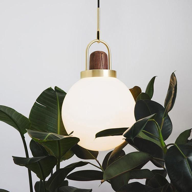 Alain Art Deco Glass Head With Wood Pendant Light Tudo And Co Tudo And Co Brass Pendant Light Pendant Light Concrete Pendant Light