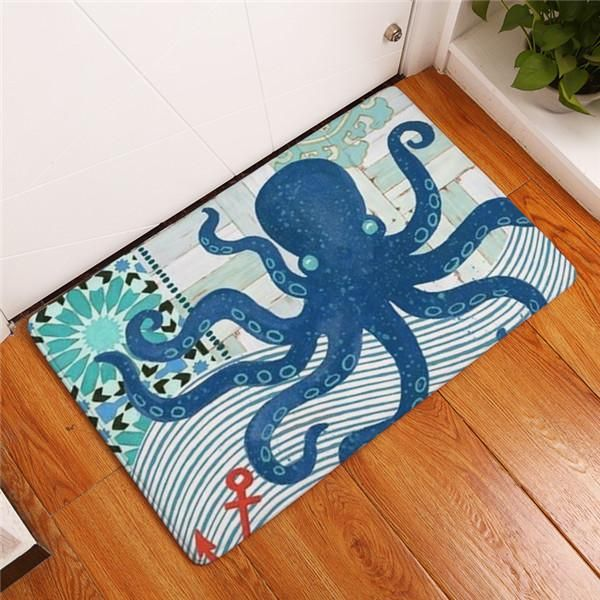 comwarm large octopus flannel bath mats vintage ocean blue anti skid floor mat bath mat and products - Floor Mats For Living Room