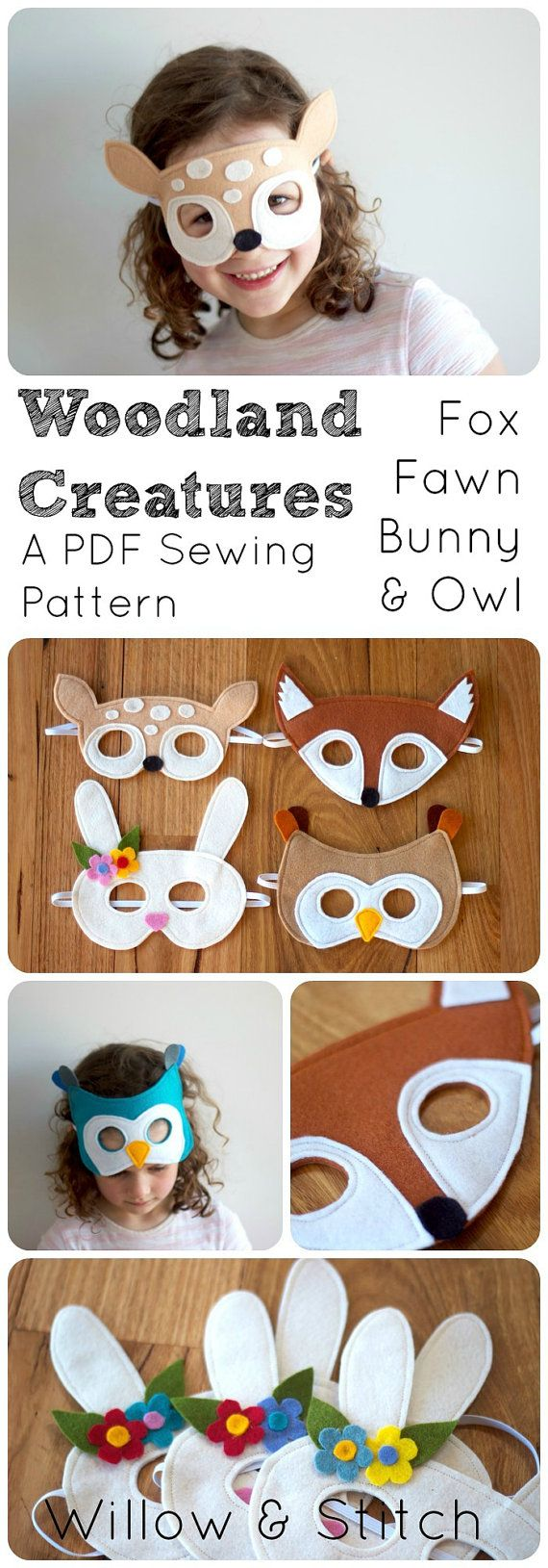 Woodland Animals (Fox, Fawn, Bunny and Owl) Felt Mask PDF Sewing Pattern and BONUS Printables