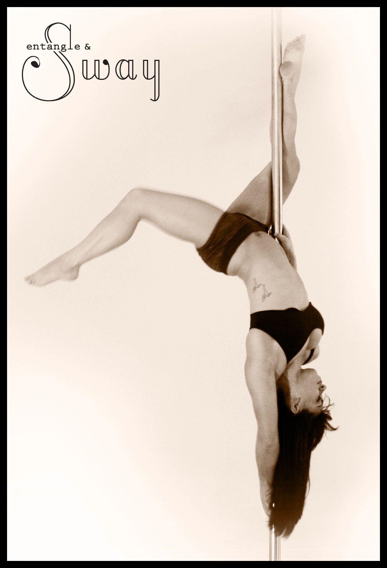 inside knee hang pole move entangle sway pole dance fitness