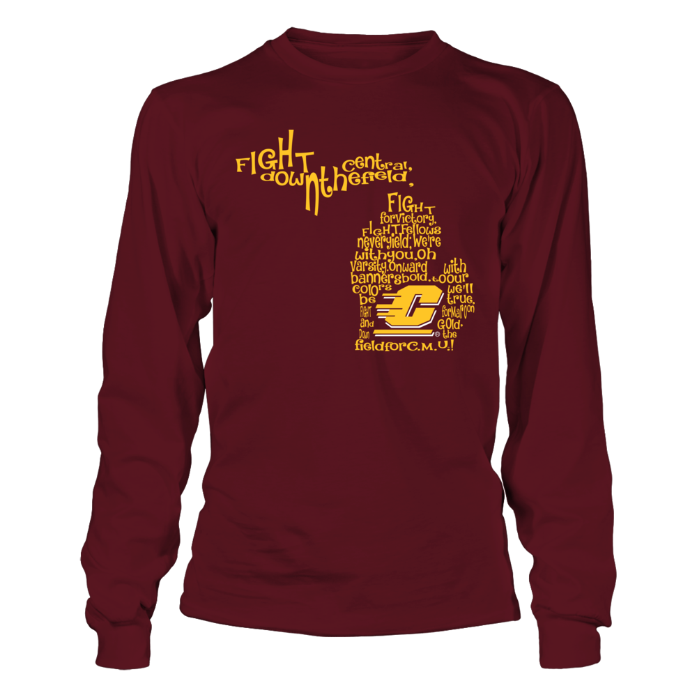 Central Michigan Chippewas Fight Song Inside State Map Central Michigan Long Sleeve Tshirt Men Fight Song