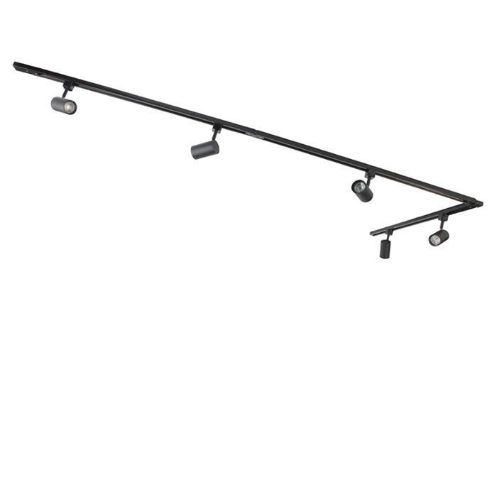 Modernes Schienensystem mit 5 Spots 1 phasig schwarz Jeana