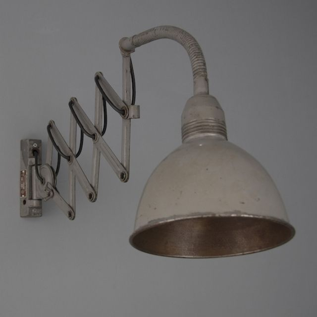 industrial germain machinists scissor light in grey with internal shade view & Original reclaimed and salvaged lighting from the 20th Century ... azcodes.com