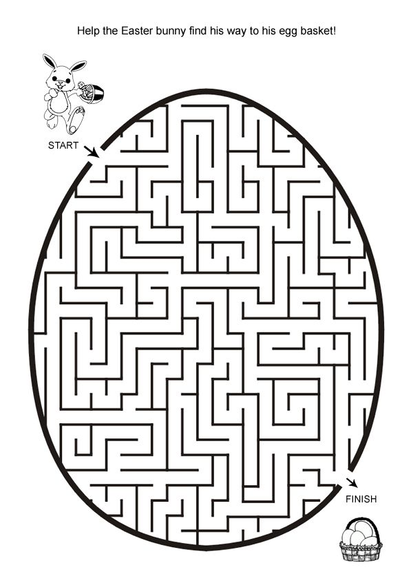 Free Online Printable Kids Games Easter Egg Hunt Maze in