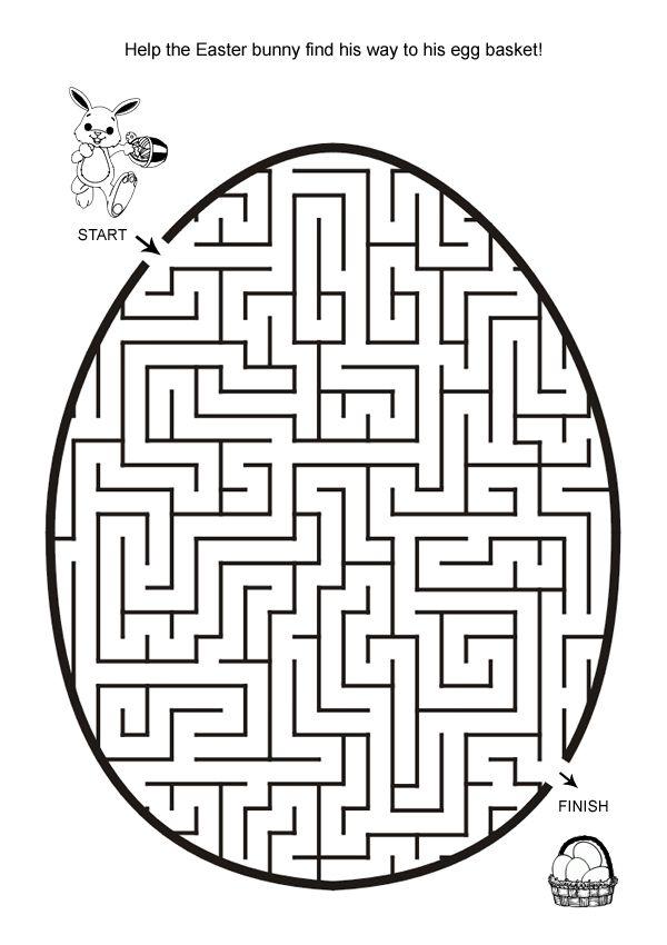 free online printable kids games easter egg hunt maze