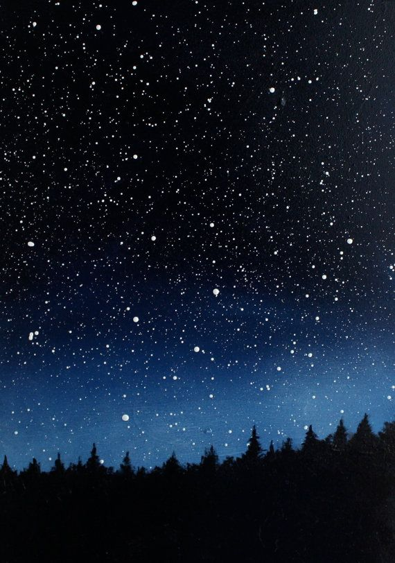Night Sky Triptych Oil Painting by TreeHollowDesigns on ...