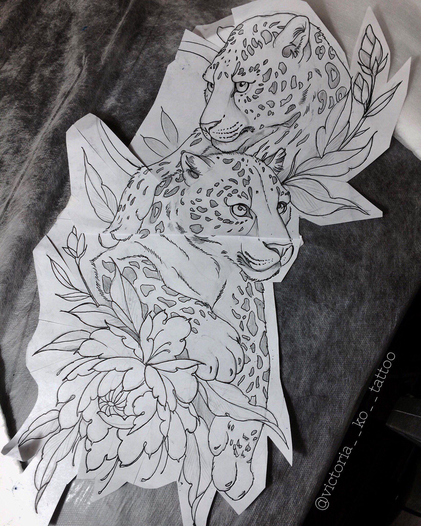 Jaguar Big Cat Floral Flower Tattoo Designs Jaguar Tattoo