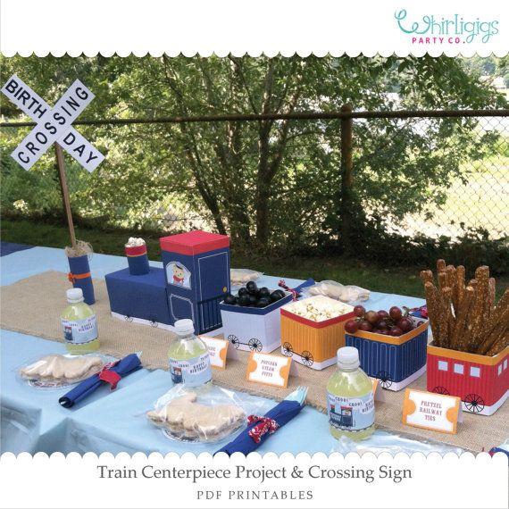 DIY Train Party Centerpiece Printables