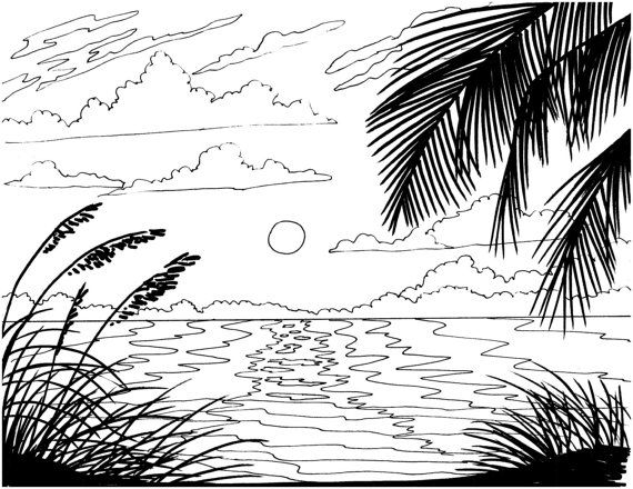 Beach Sunrise coloring page embroidery pattern beach