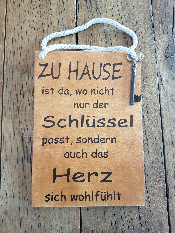 Zu Hause ist da, wo nicht nur der Schlüssel passt -Wunderschönes Holzschild mit Spruch Dekotafel Sprücheschild im Vintage, Shabby