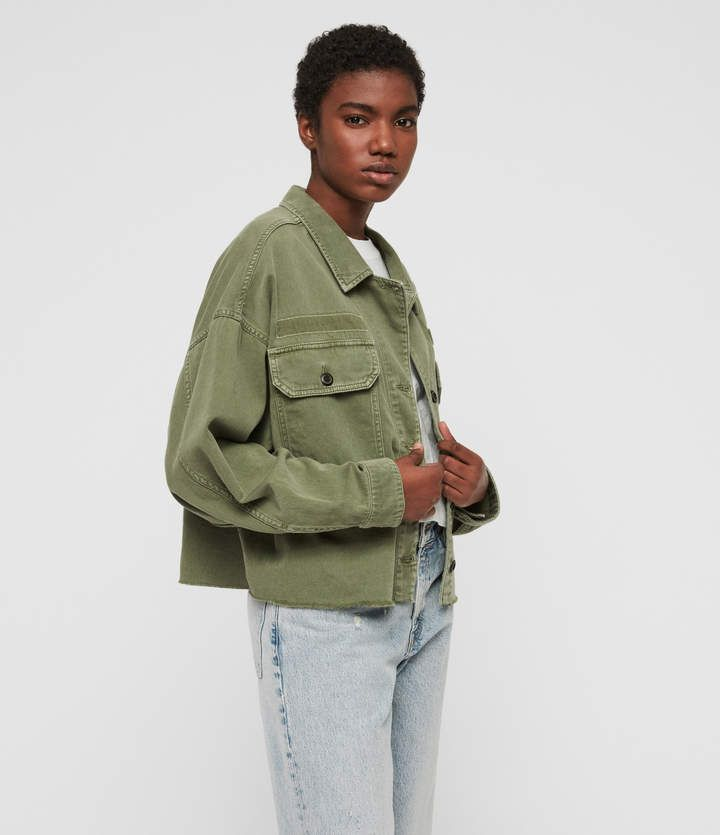Womens Morten Shirt Denim Jacket Khaki Green Bomber Jacket Vintage Vintage Denim Jacket Jackets