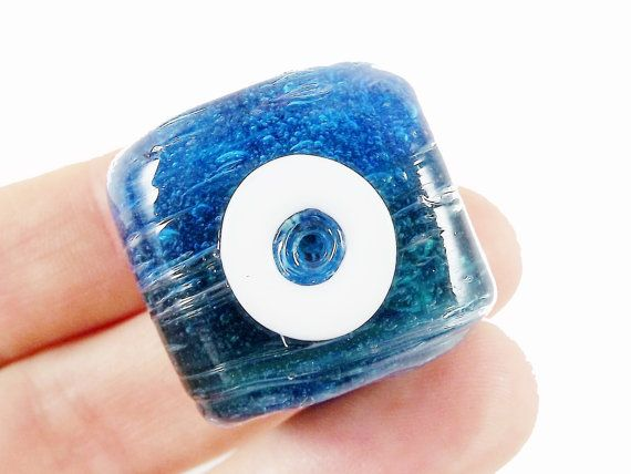 Translucent Deep Ocean Blue Square Cube Evil Eye by LylaSupplies, $2.75