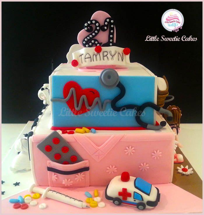 21st Birthday cake Nurse Cake Cakes Pinterest Nurse cakes