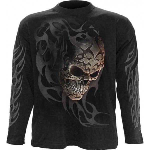 Black Gothic Mens Long Sleeve Shirt By Spiral Clothing