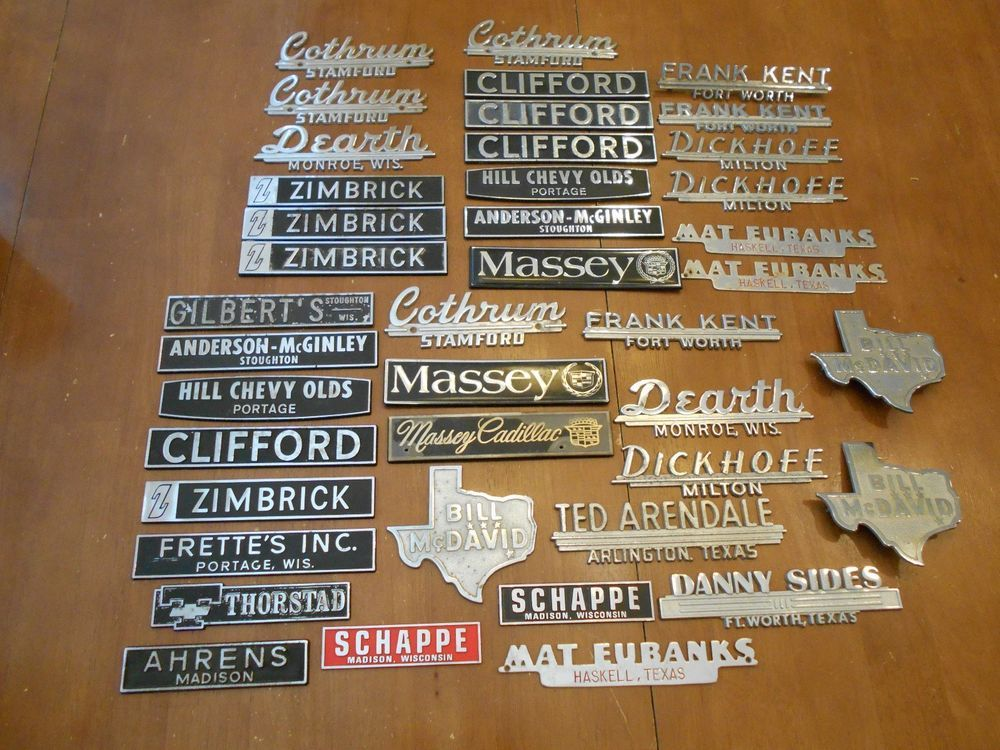 HUGE LOT 41 METAL vintage car auto dealer dealership trunk emblem ...