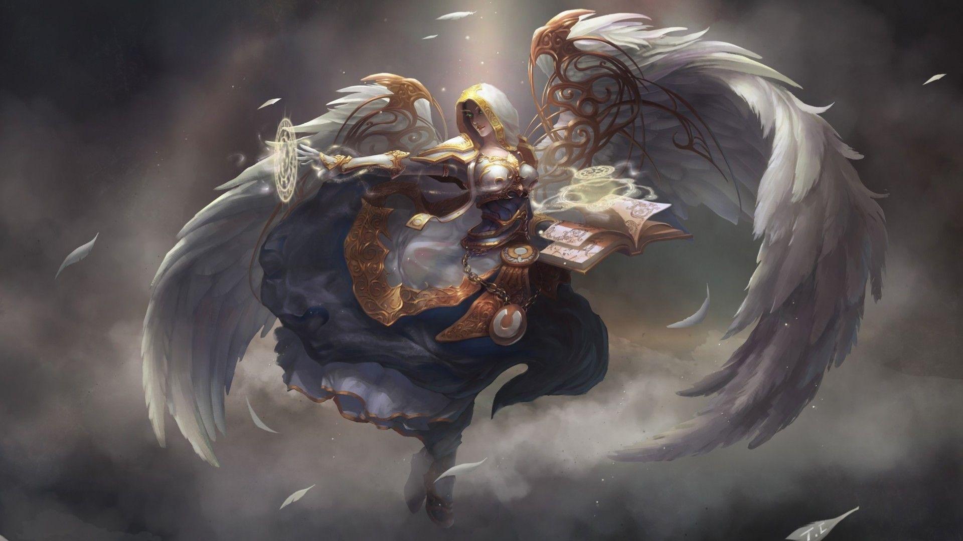 Angel Book Magic Wings Wow World Warcraft Fantasy Fantasy Desktop