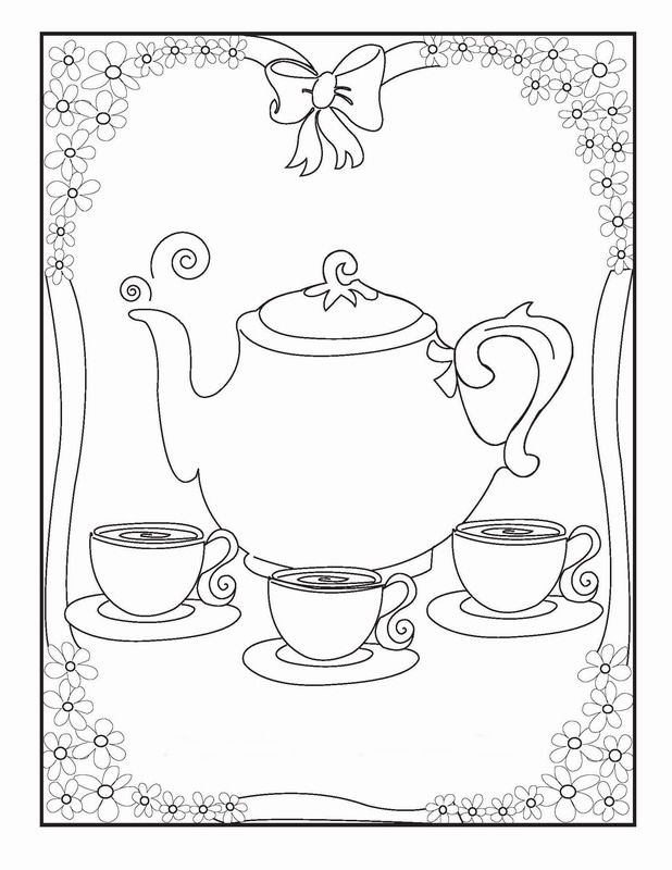 tea party coloring pages  birthday printable  tea