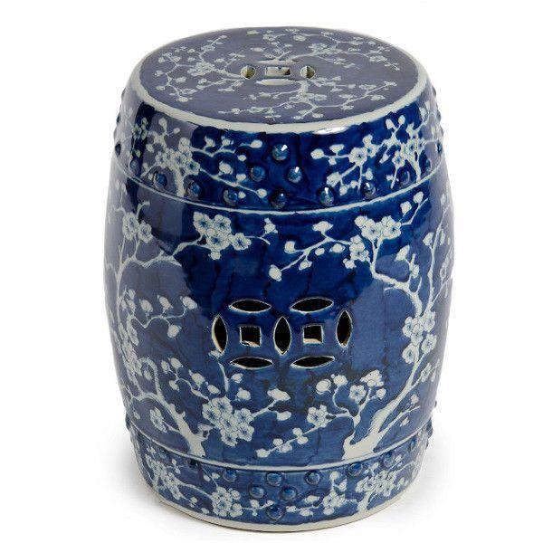 Plum Blossom Chinoiserie Garden Stool Blue White White Garden Stools Ceramic Garden Stools White Porcelain