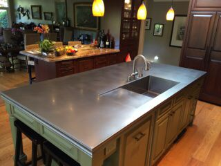 Stainless Steel Island Countertop With Integrated Drainboard And