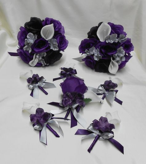 Wedding silk flower bridal bouquets package calla lily black purple wedding silk flower bridal bouquets package calla by bellinablue 20900 dark purple white and black can be purchased cheaper at hobby lobby mightylinksfo