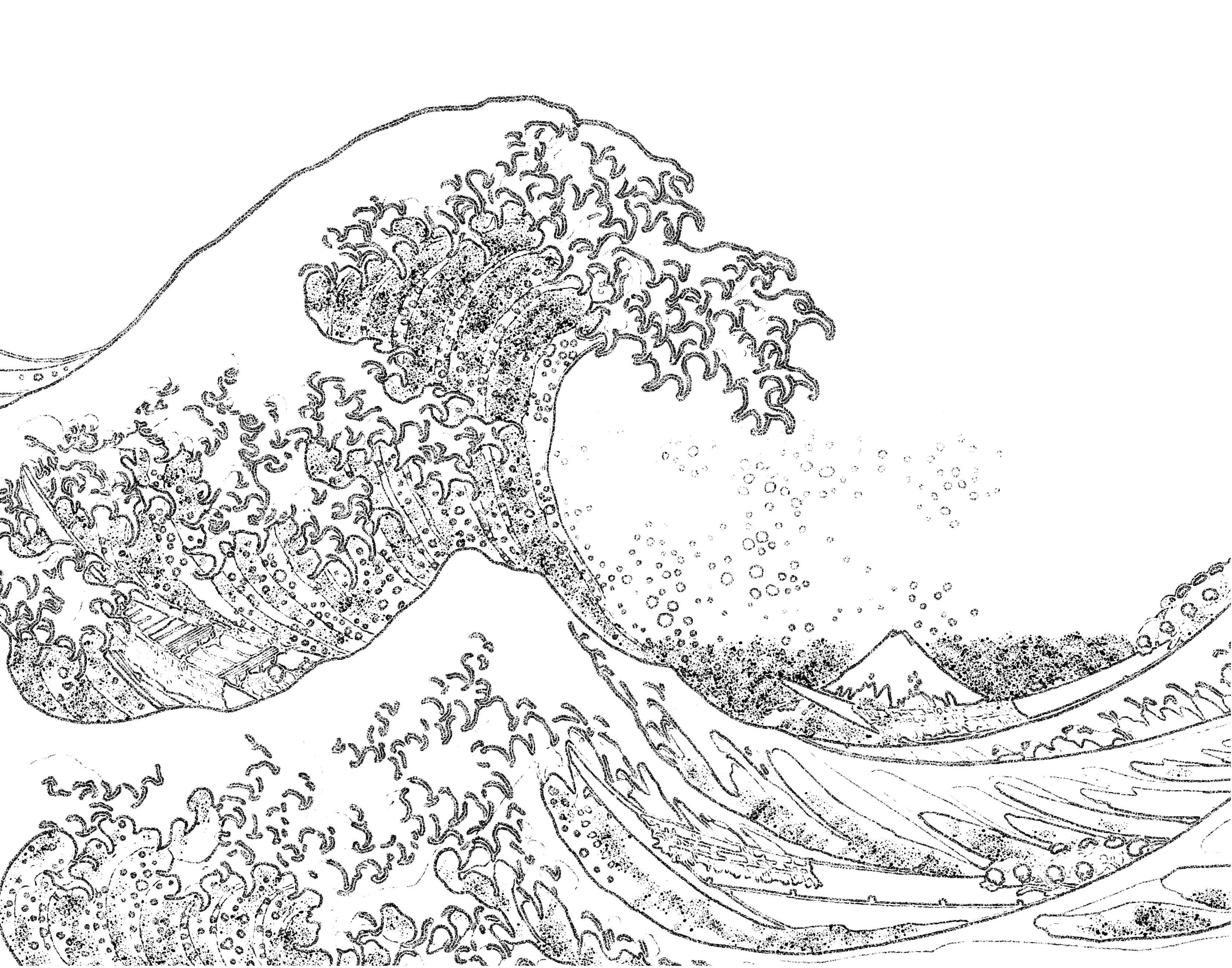 Hokusai Waves Colouring Pages