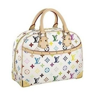 """Louis Vuitton Monogram Multicolore Trouville Blanc M92663 Monogram Multicolore is a creation of Takashi Murakami for Louis Vuitton; Golden metallic hardware Alcantara lining; Comfortable rolled cowhide handles; Exterior pocket; Double zip opening; Inside patch pocket and cell phone pocket.  11.8"""" x 9.3"""" x 4.5"""""""
