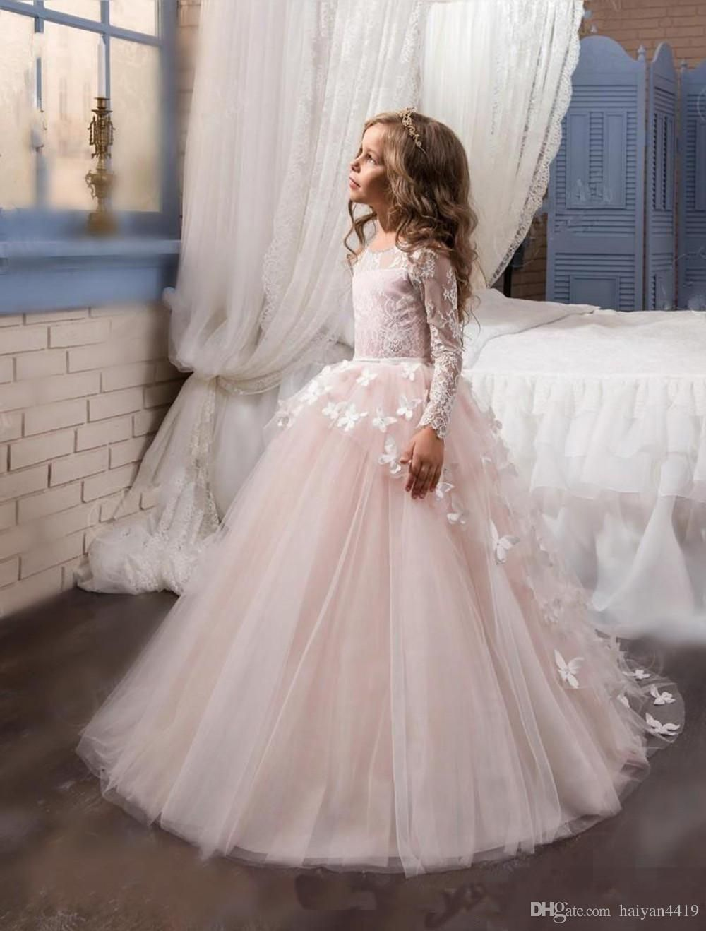 2017 cute cheap flower girls dresses blush pink flowers lace 2017 cute cheap flower girls dresses blush pink flowers lace appliques tulle long sweep train birthday communion children girl pageant gowns girl wedding izmirmasajfo