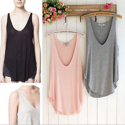Moda verão feminino para senhoras sem mangas sexy decote em V, Colete Blusa Solta Regatas T-shirt