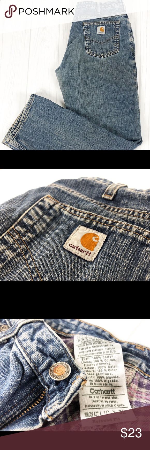 Carhartt Women's Jeans Size 10x32 100%Cotton Women's classic denim pants built for unrestricted movement. Rural living demands a lot from our clothing. These women's heavyweight jeans feature a stretch canvas build that offers unrestricted movement and the durability to meet the rigors of your everyday life. They give you our roomiest fit, and the waist and back are cut to stay put as you squat or bend down. Carhartt Jeans #carharttwomen