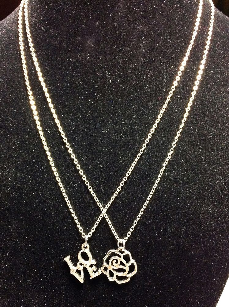 Set of 2 silver chain with love and rose pendant necklaces set of 2 silver chain with love and rose pendant necklaces aloadofball Image collections