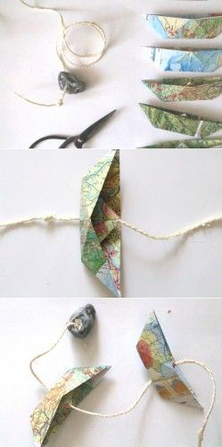Photo of Paper boat garland from atlas pages {upcycling} – sewing marie