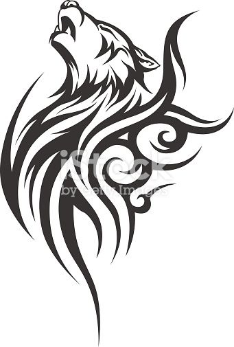 Vector wolf tattoo. Vector illustration without transparency