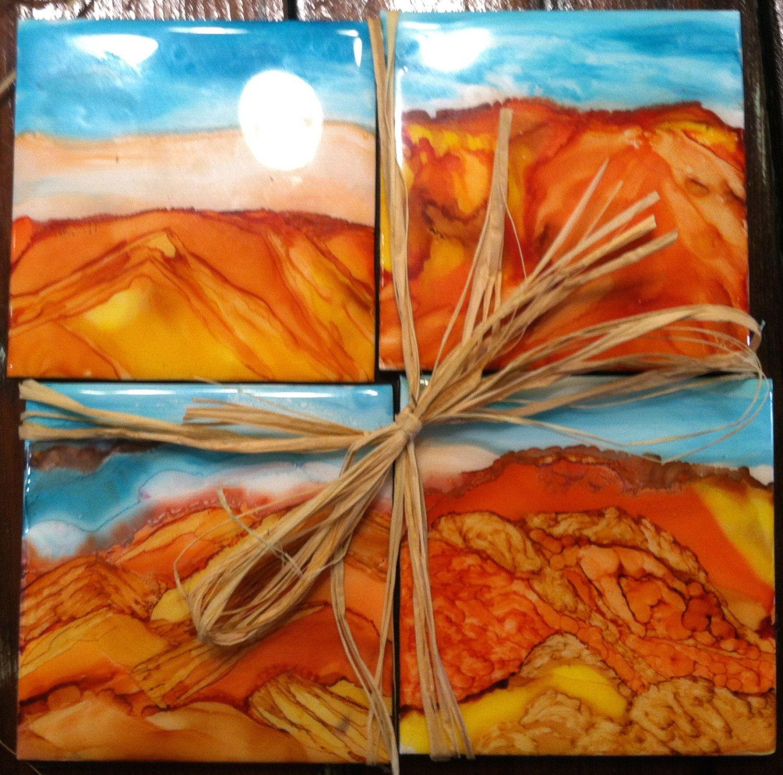Set Of 4 4 Ceramic Tile Coasters Southwest Theme Etsy Ceramic Tile Coaster Desert Painting Tile Coasters