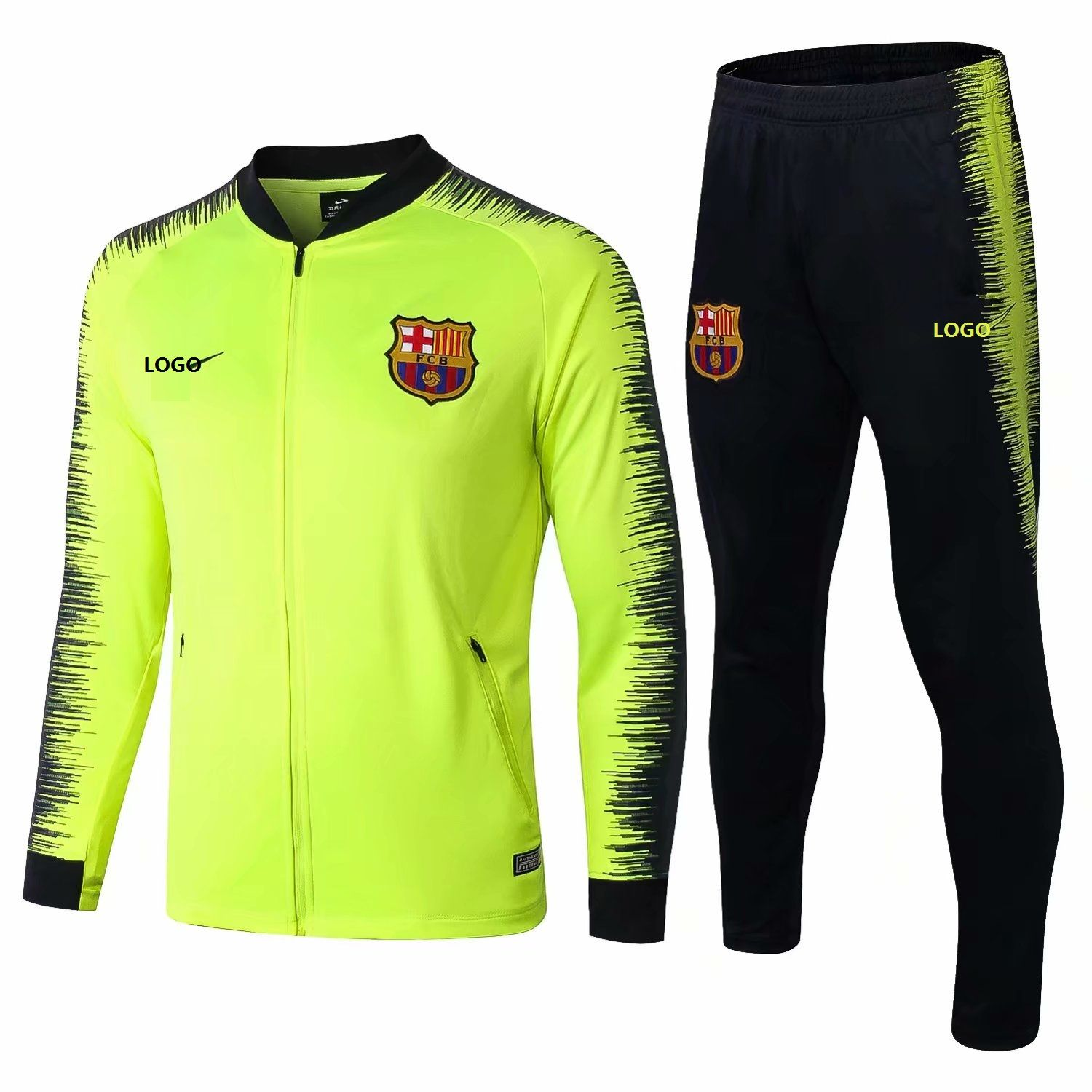 2018 19 Men Barcelona Green Football Jackets Kits Adult Training Tracksuit  Sets 68b57f691