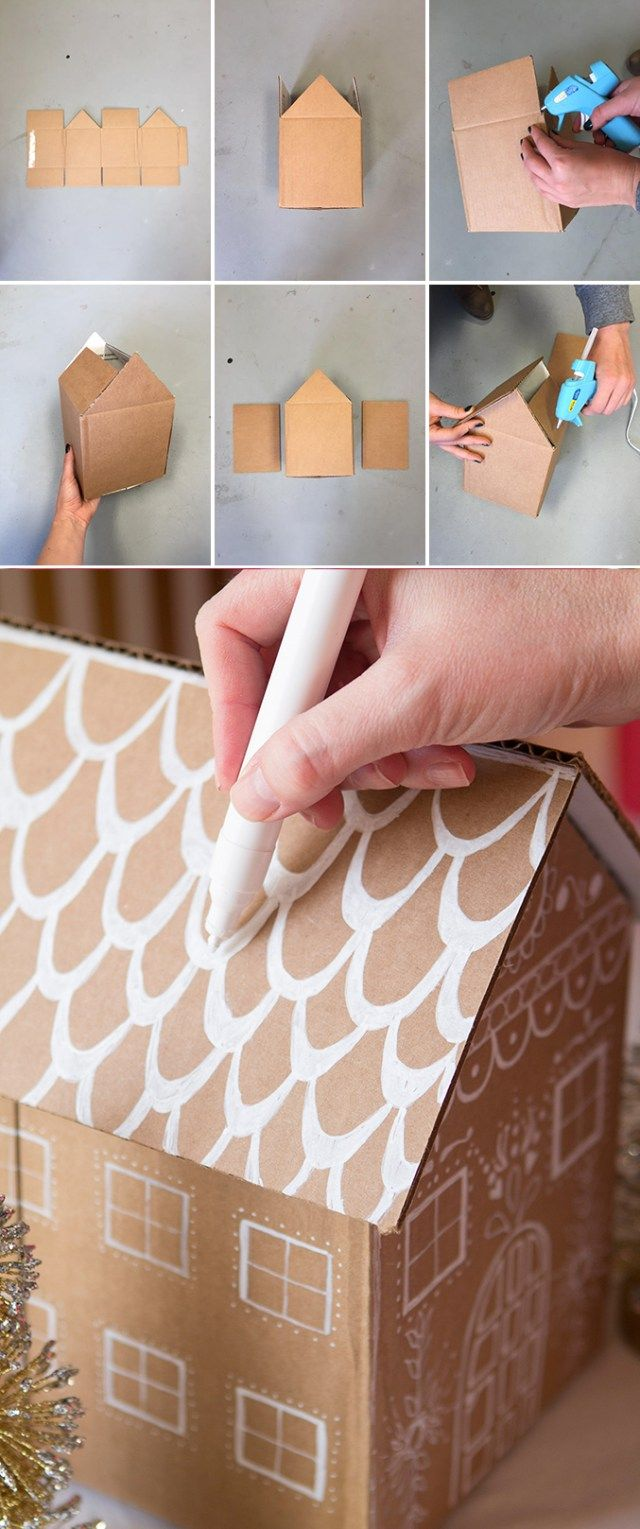 diy gingerbread house gift boxes paint markers cardboard boxes