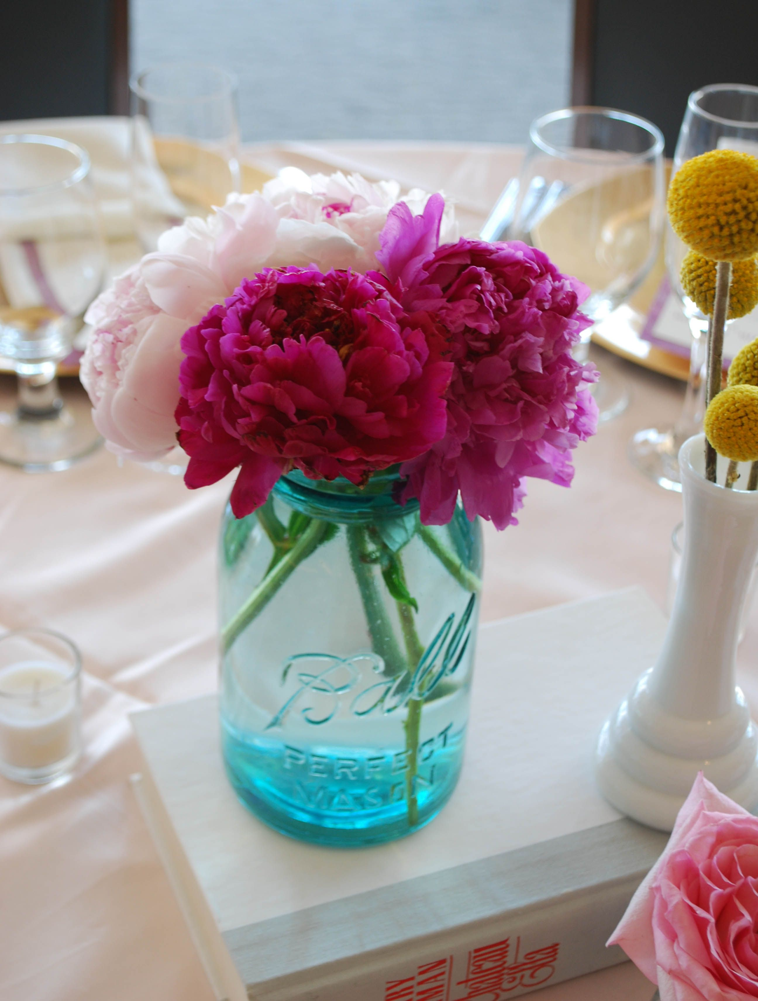 Mason jar wedding decoration ideas  mason jar and peonies centerpiece  Ideas  Pinterest  Peony