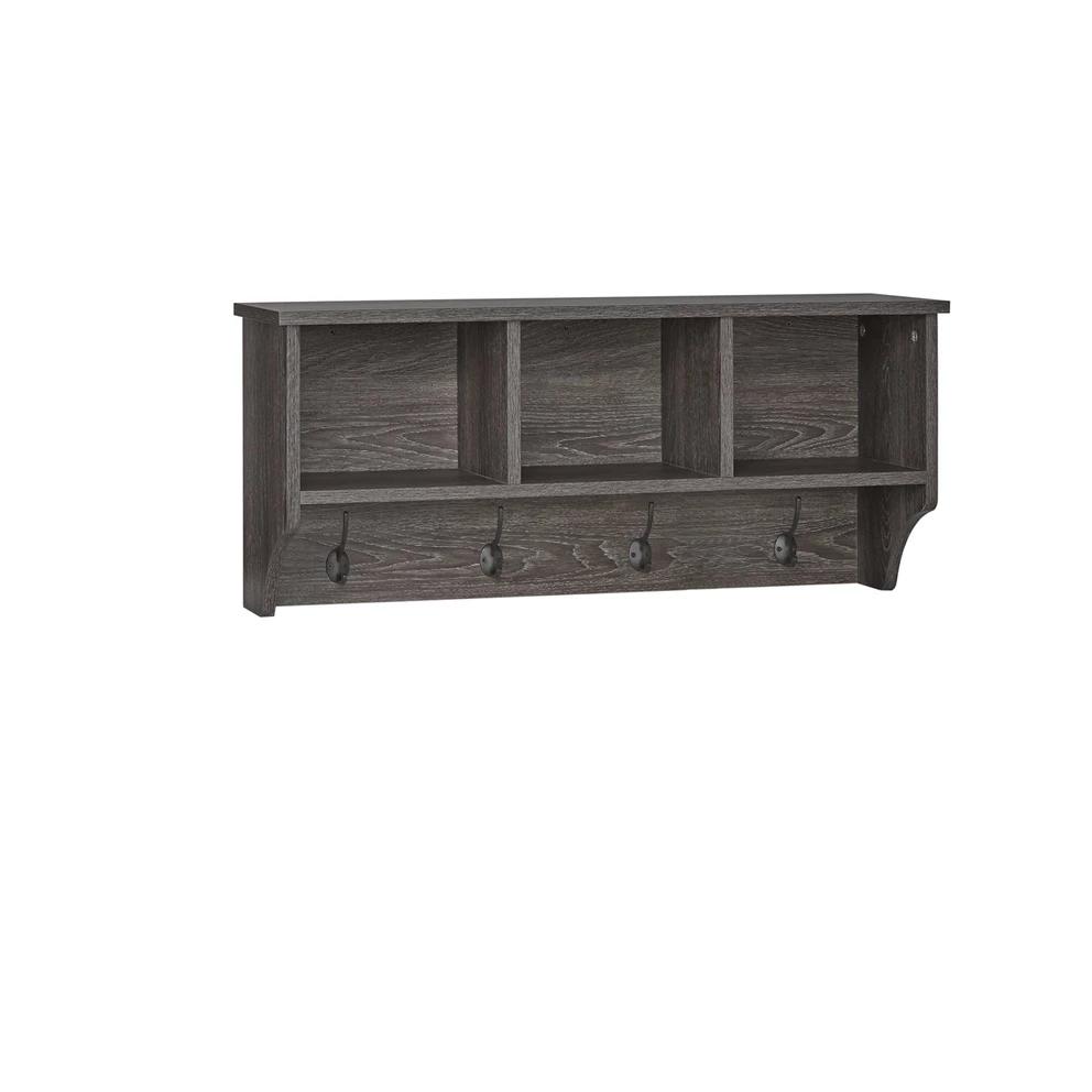 Woodbury Wall Shelf With Cubbies And Hooks Weathered Wood Wall Wall Mounted Coat Rack Wood Wall Shelf
