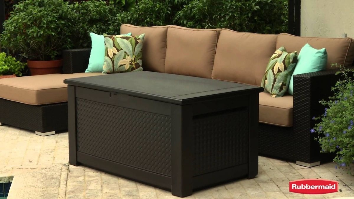 Rubbermaid Patio Chic Storage Bench Youtube Within Patio Furniture