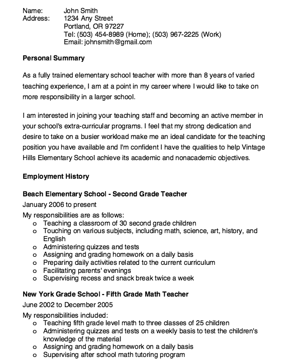 Elementary School Teacher Resume Sample  HttpResumesdesignCom