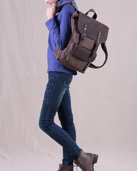 Vintage Casual #Canvas Leather Travel Student #Backpack