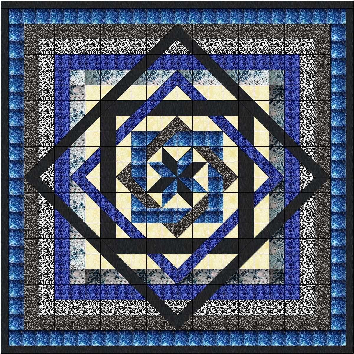 Quilting Kits 19160: Easy Quilt Kit Tumbling Star Blues Black Pre ... : easy quilt kits - Adamdwight.com
