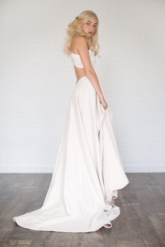 Fawn Faux Suede Wedding Dress //Suede Circle Skirt/Cut Outs/Button ...