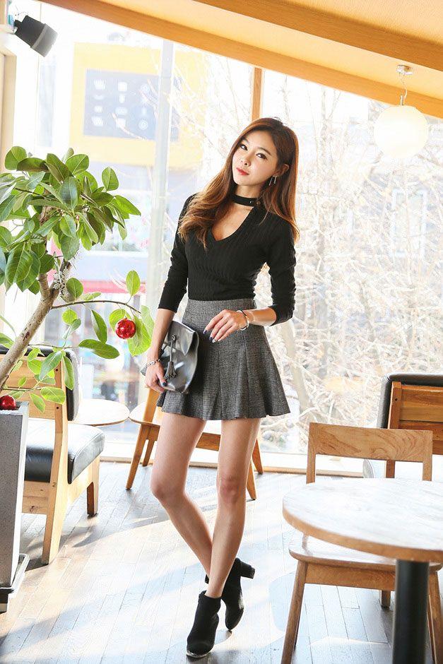button neck v top  韓流ファッション ファッション レディース 女性の服装