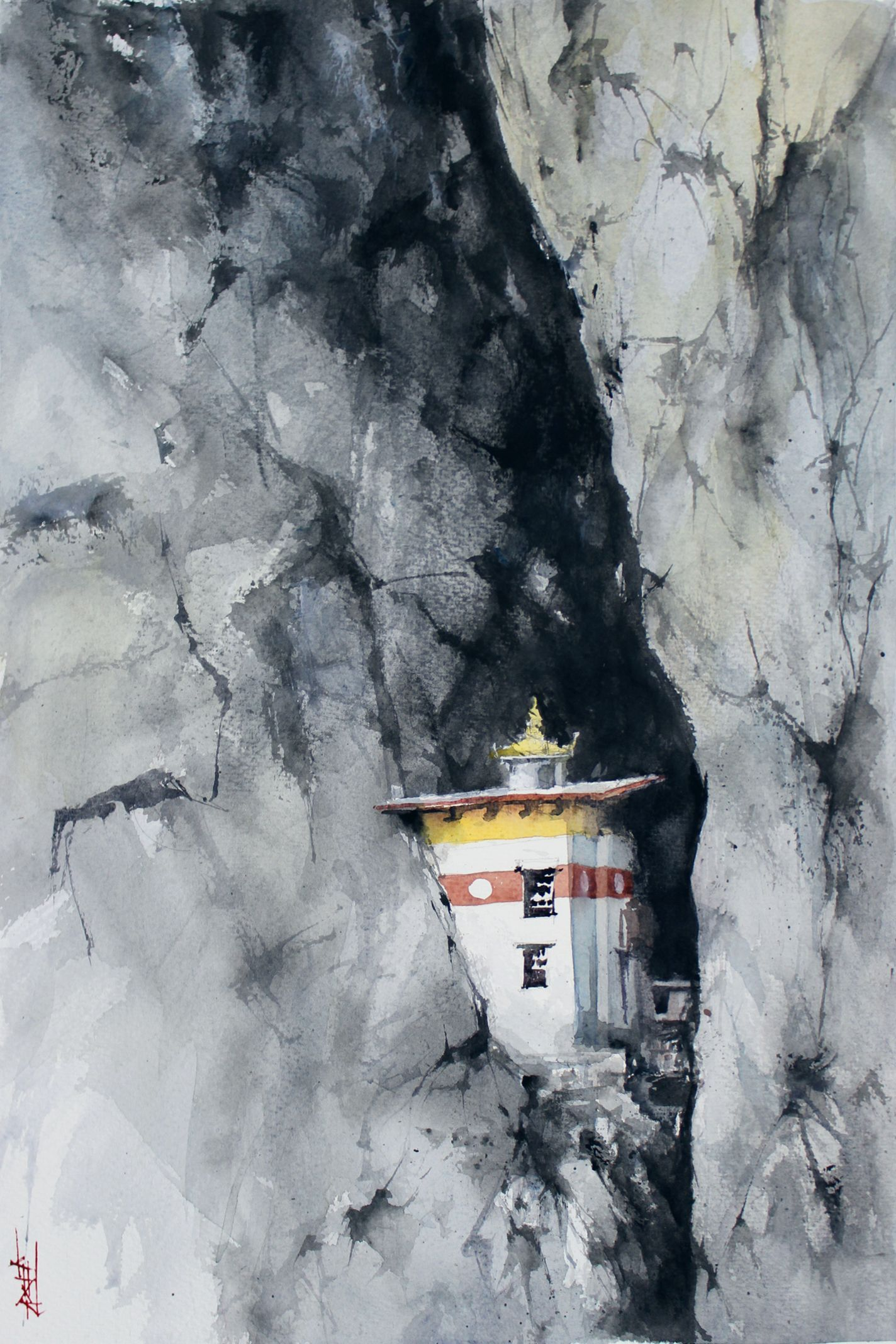 Temple In The Cliff Bhutan Watercolor In 2020 Nature Paintings