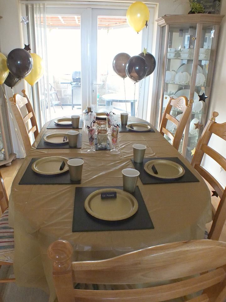 Table setting. Gold plastic table sheet purchased from ebay black table mats (owned already) gold paper cups \u0026 plates from eBay table cards mad\u2026 & Table setting. Gold plastic table sheet purchased from ebay black ...