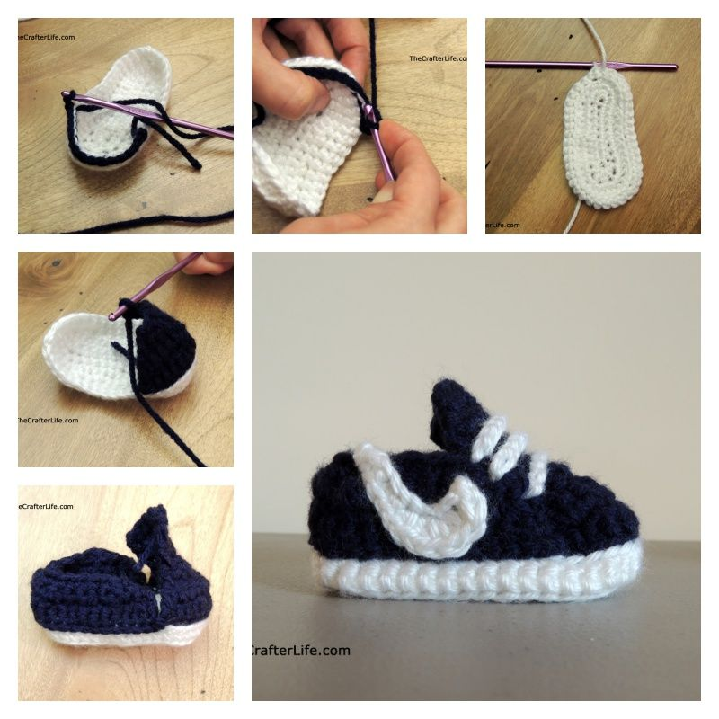 How to Crochet Nike Baby Sneakers with Free Pattern | Arte de ...