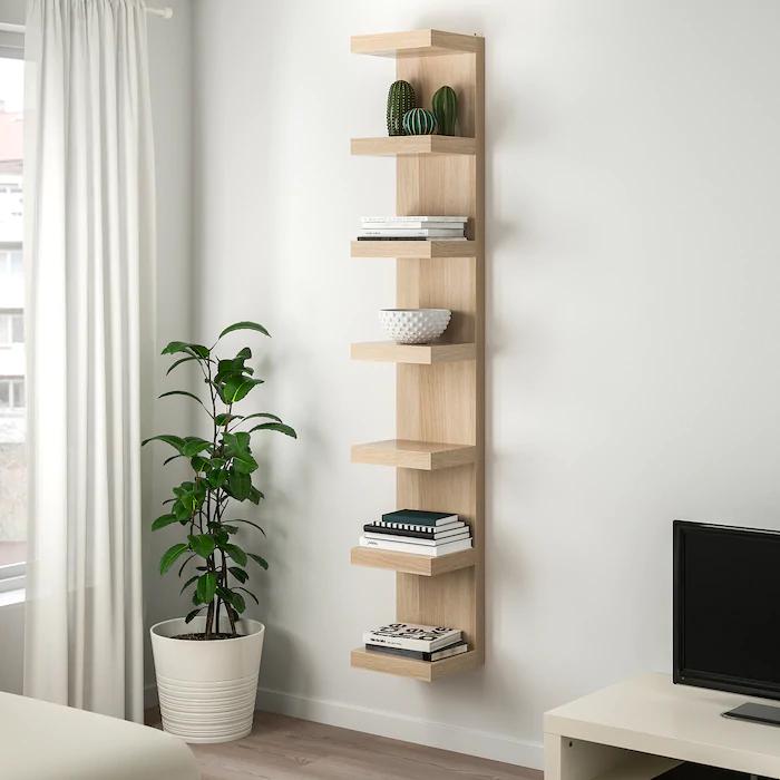 Lack Etagere Effet Chene Blanchi 30x190 Cm En 2020 Mobilier De Salon Etagere Murale Ikea Idee Deco Appartement