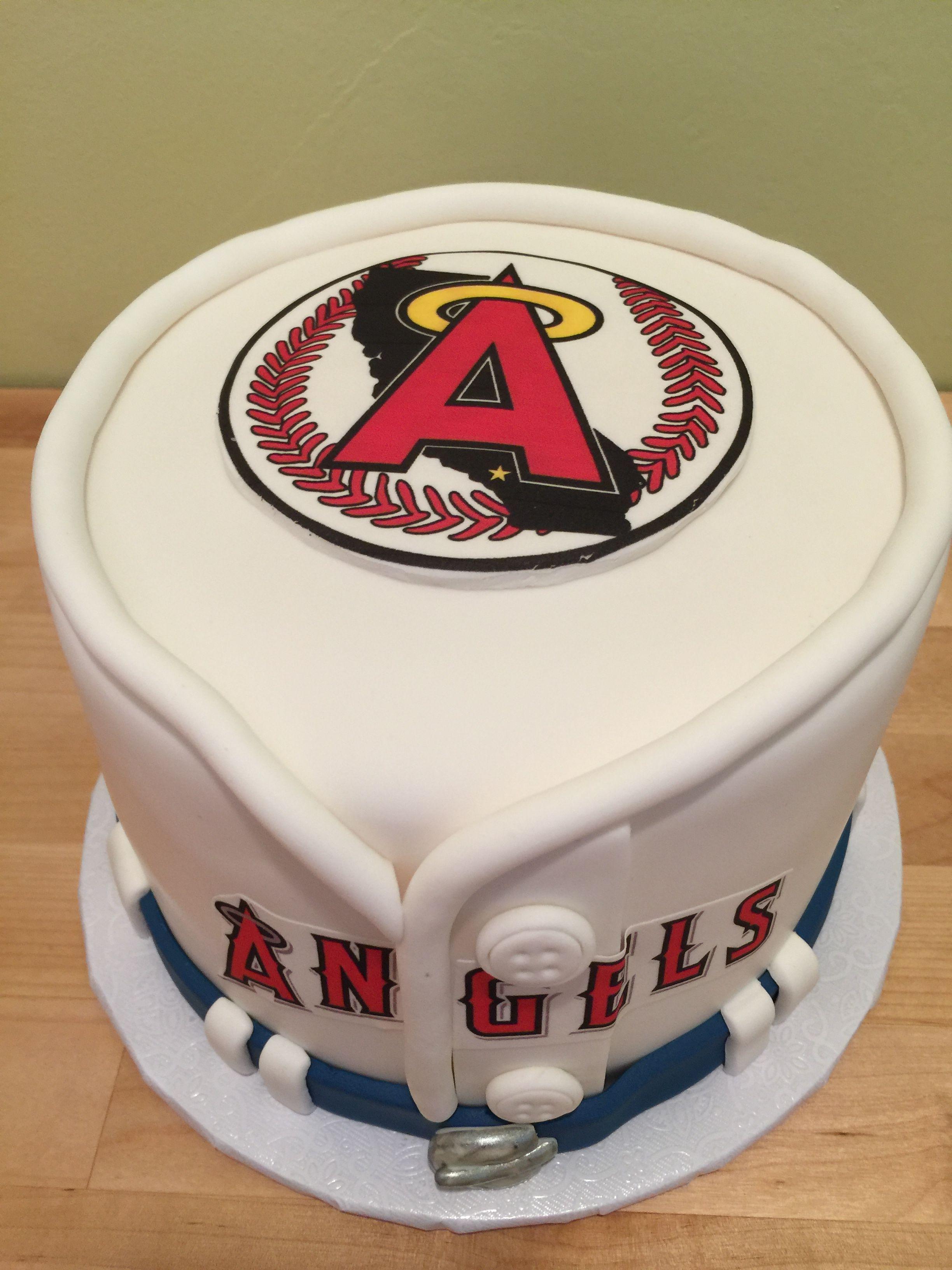 Angels Baseball Cake With Images Baseball Cake Sports Themed