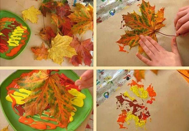 Herbst basteln kindern bl tter farbe malen basteln for Angebote kindergarten herbst
